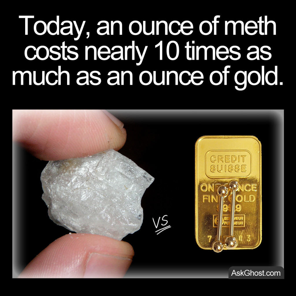 Today, an ounce of meth costs nearly 10 times as much as an ounce of gold.