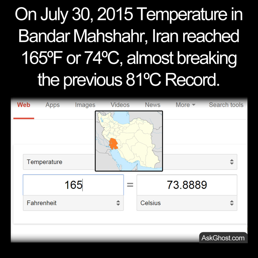 Temperature in Bandar Mahshahr Iran reached 74C image