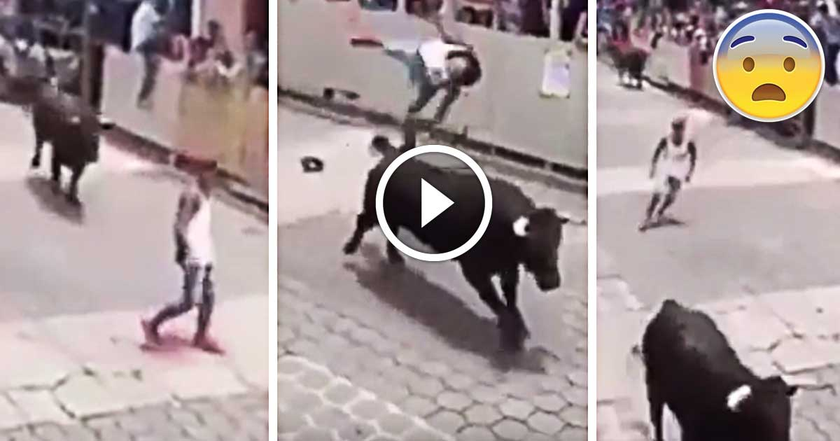 Giant Bull Flips Young Man 10ft Into The Air